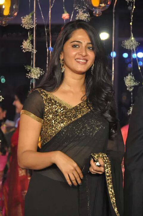 Anushka Shetty in black saree