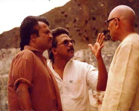 Maniratnam and Rajinikanth at Thalapathi shooting spot