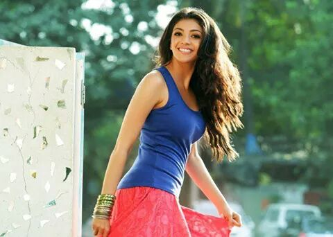 Kajal Aggarwal hot in blue top real life