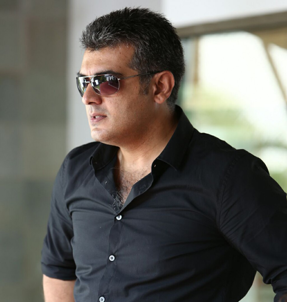 Ajith Kumar in black shirt and sun glass