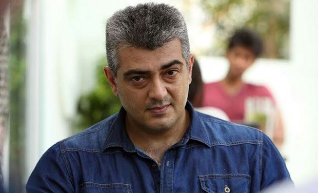 Ajith Kumar in blue denim shirt