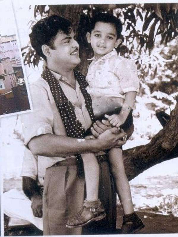 Gemini Ganesan with 'Kid' Kamal OLD