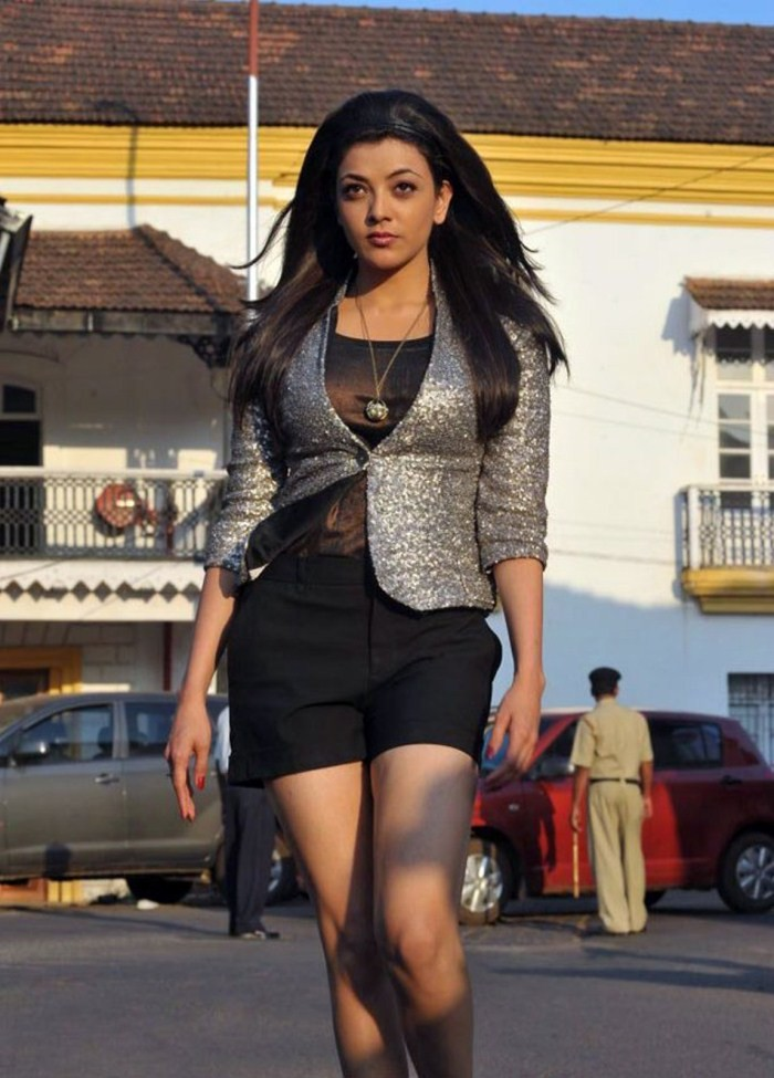 Kajal Aggarwal hot in shorts in a movie song shoot