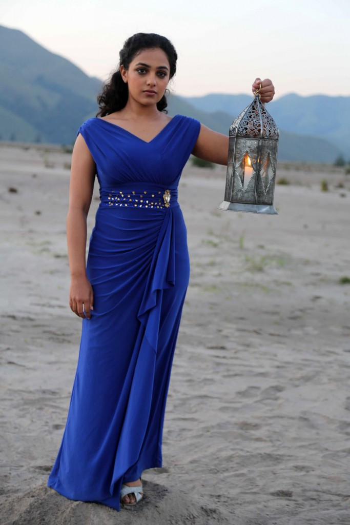Nithya Menon in blue during a photo shoot