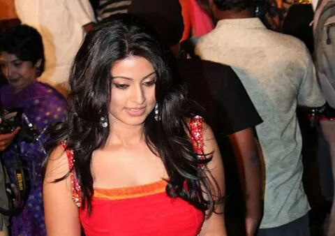 Sneha hot in red gown at a function