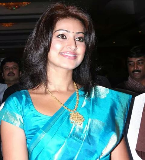 Actress Sneha in blue saree