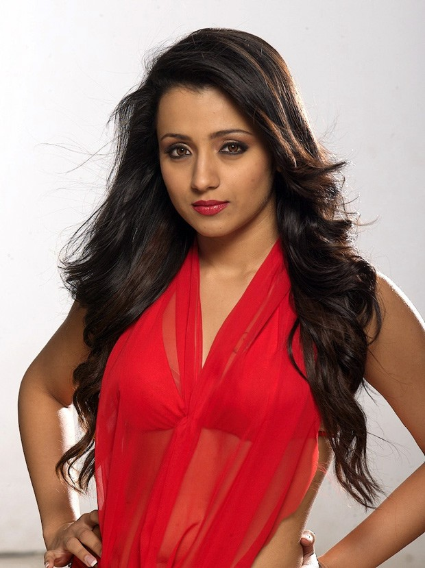 Trisha hot in red