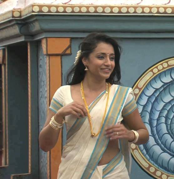Trisha Krishnan at a temple in white saree