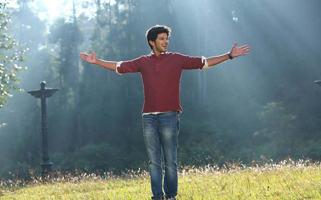 Dulquer Salmaan alone in a park