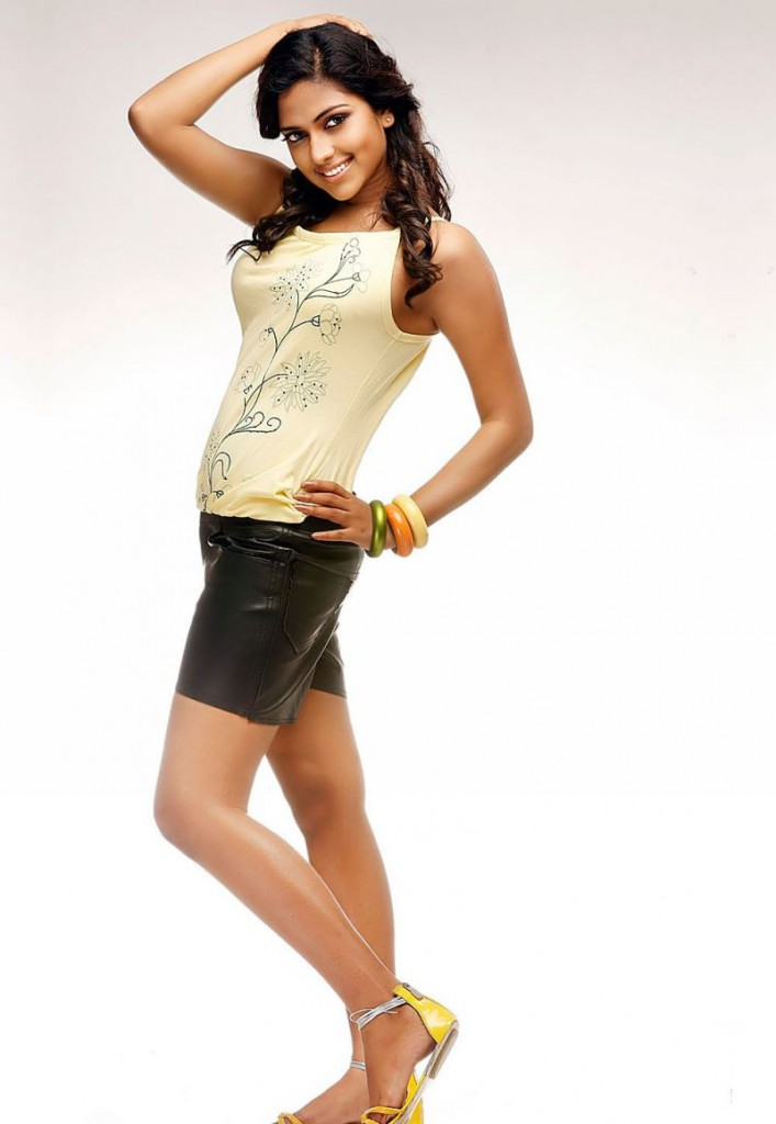 Amala Paul in shorts and t shirt