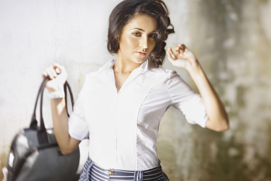 bhama in white shirt from a photoshoot