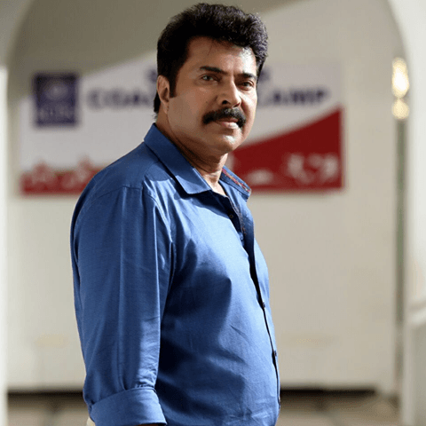 Mammootty in blue shirt