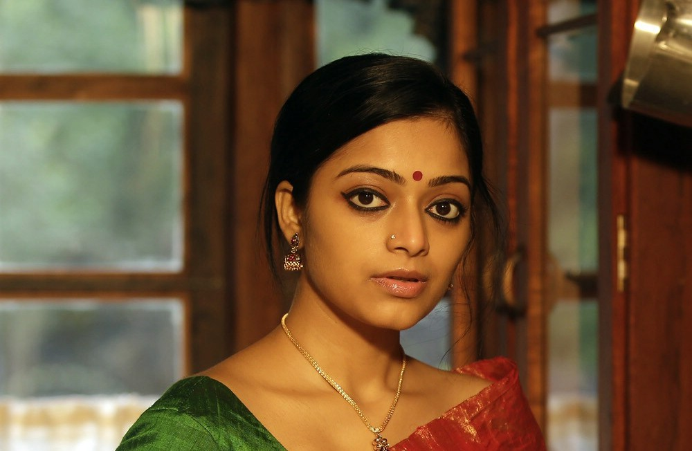 Actress Janani Iyer in traditional saree