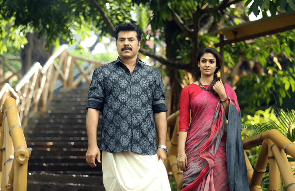 Nayanthara in red saree in Bhaskar The Rascal with Mammootty