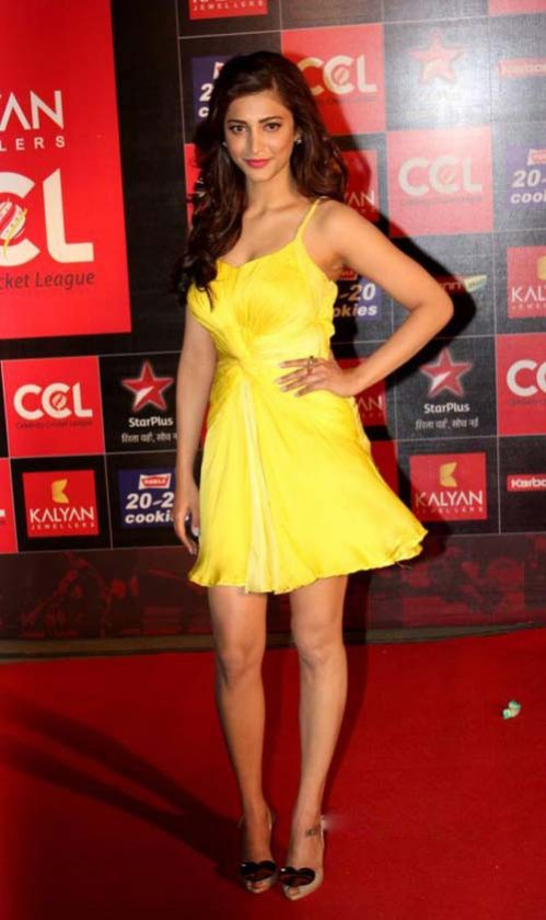 Shruti Haasan in yellow skirt in a function