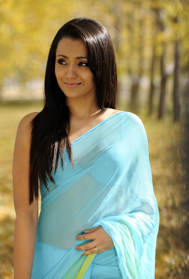 Trisha in blue saree