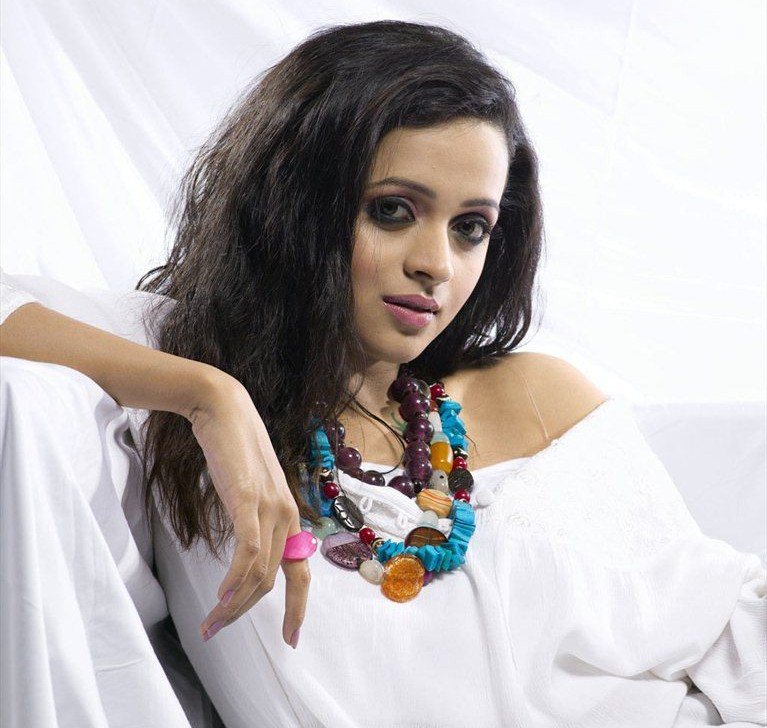 Actress bhavana in white top photo