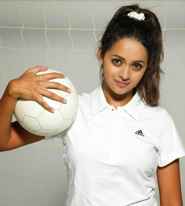 Bhavana Menon in white top