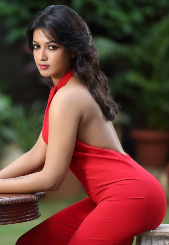 Catherine Tresa hot in red dress