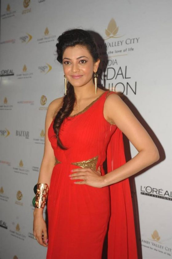Kajal Aggarwal in red gown at a film function