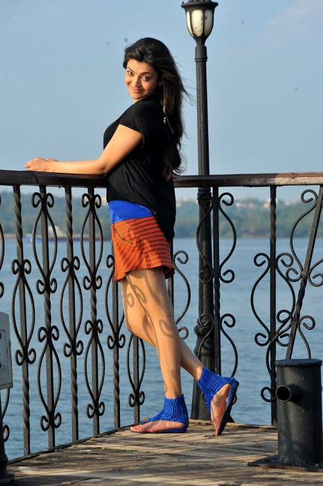Kajal Aggarwal in shorts at location