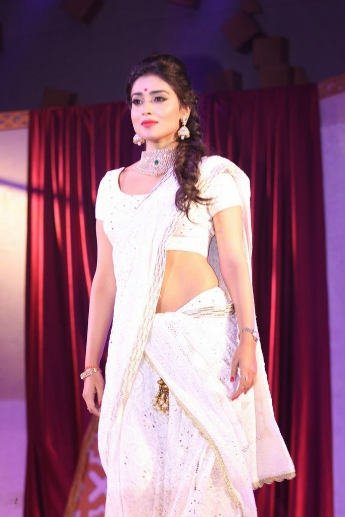 Shriya Saran looking gorgeous in white saree