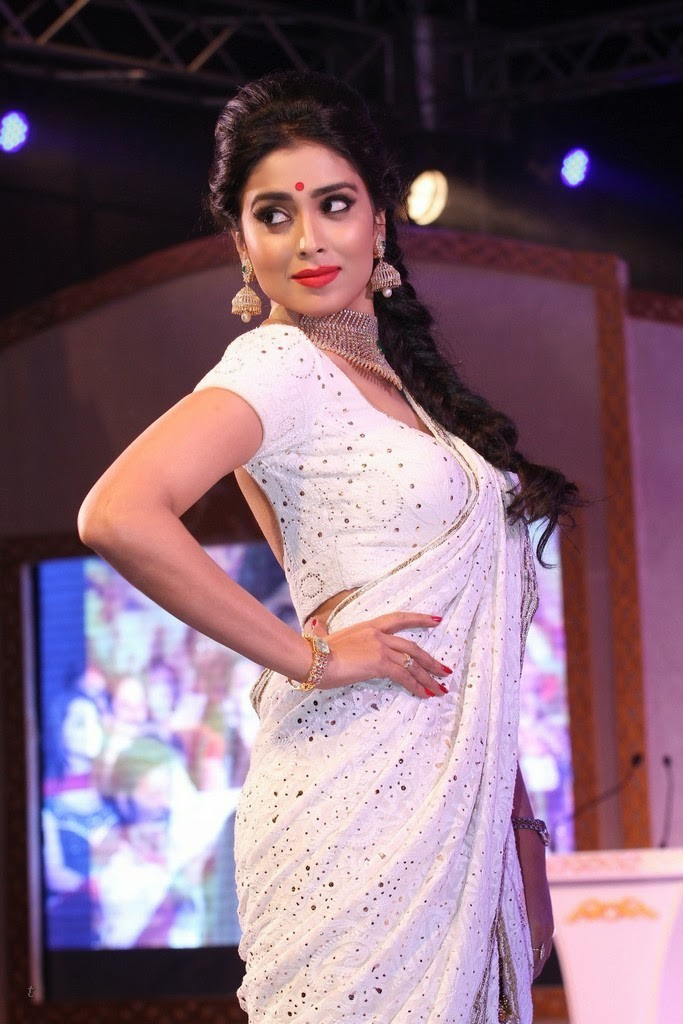 Actress Shriya Saran hot in white saree