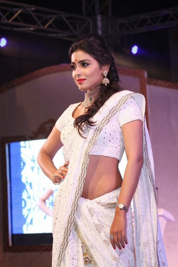 Shriya Saran hot navel in white saree