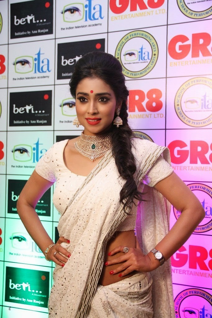 Shriya Saran hot in white saree
