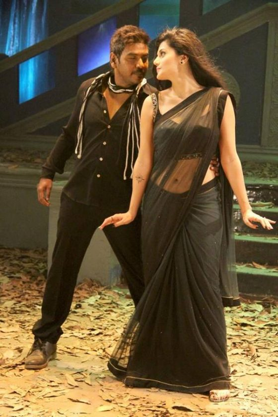 Tapsee hot in black saree see through
