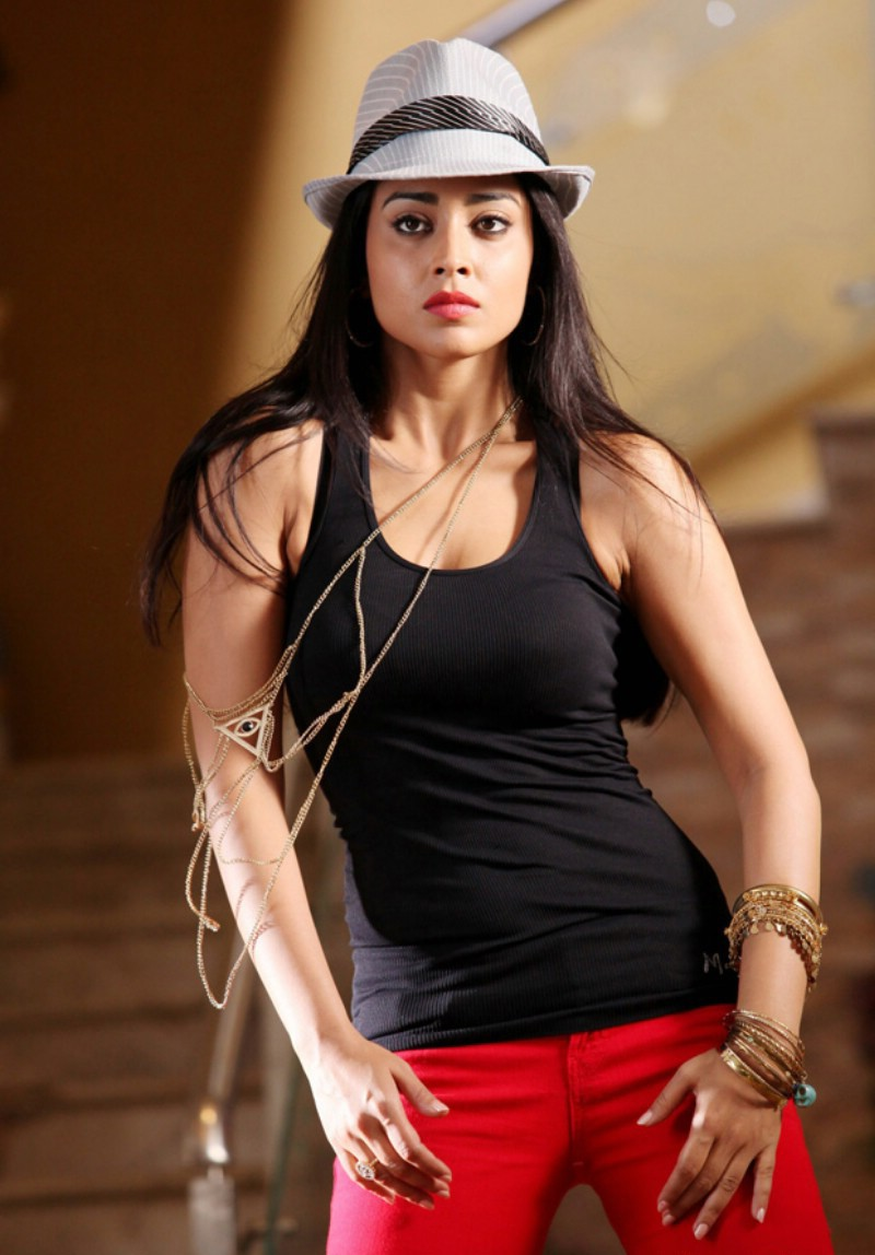 Shriya Saran hot in black tight top