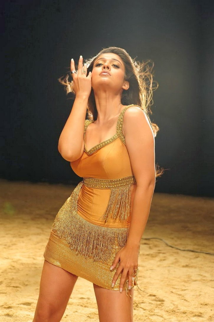 Nayanthara hot in skin colour dress