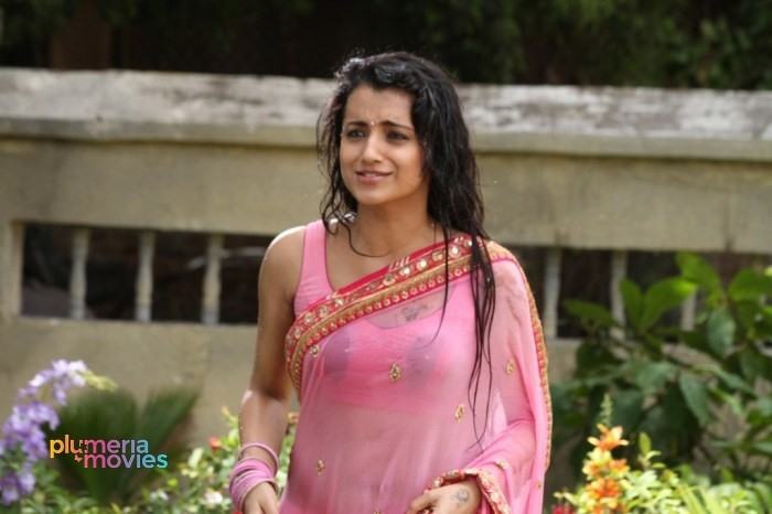 Trisha Navel Wet Saree Stills Aranmanai 2 (1)