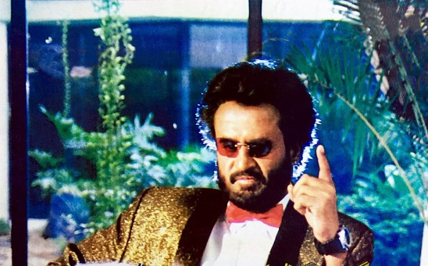 Rajinikanth with sunglass in basha