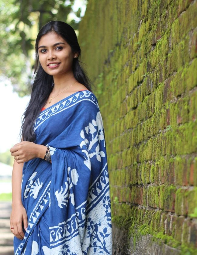 Ashna Sudheer in blue saree