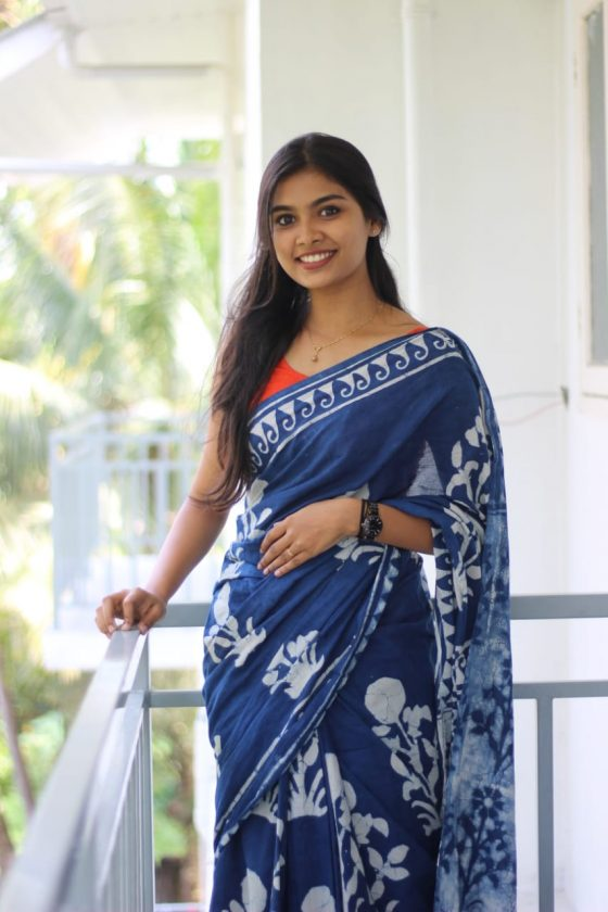 Malayalam actress Ashna Sudheer in blue saree