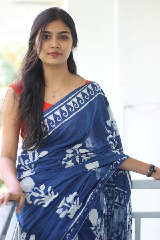 Tamil actress Ashna Sudheer in blue saree