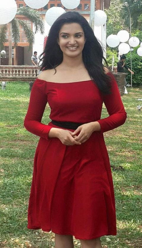 Honey Rose real life in red gown hot
