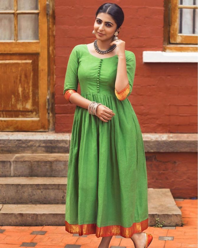 Leona Lishoy in green