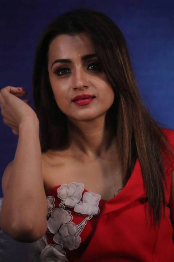 Trisha Krishnan hot in red during Mohini Movie Press Meet
